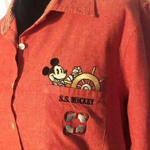 Disney, S.S. Mickey, button down top, embroidered